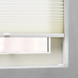 Plisségordijn gespannen - Lichtdoorlatend - Gebroken wit - 110cm x 130cm