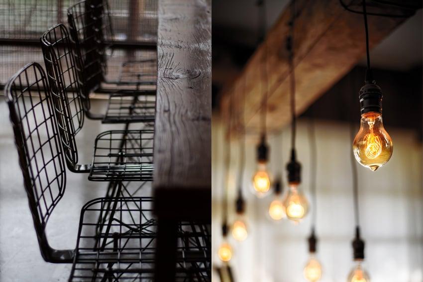 industriele stoel en lampen